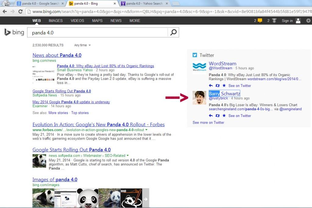 Panda 4.0 Bing Serps