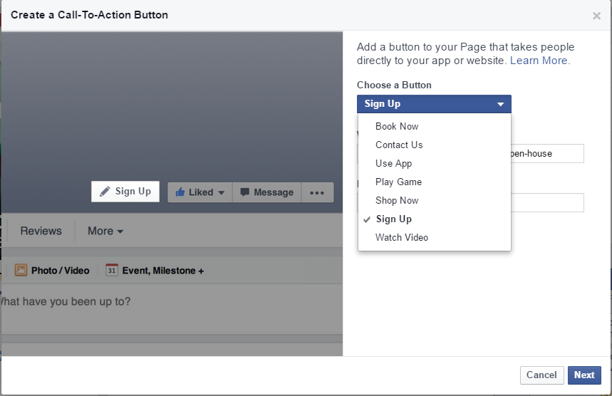 Call to action button Facebook